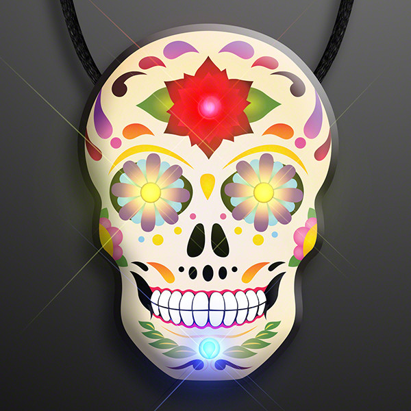 Day of the Dead Light Up Sugar Skulls on Lanyard (Pack of 12)