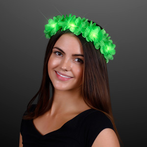 Green clover flower crown that lights up.