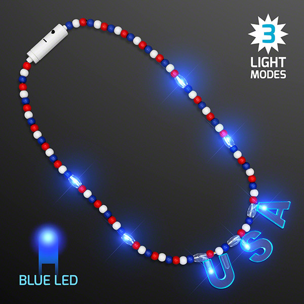"Red, white and blue beads with LED lights and a light up ""USA""."
