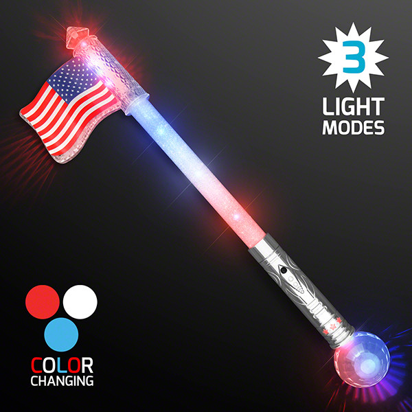 American flag jumbo wand that light sup in red, white and blue.