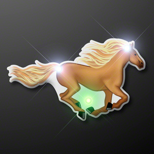 Horse pin with blinking LED lights.