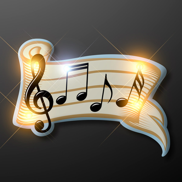 Bar of musical notes pin with lights.