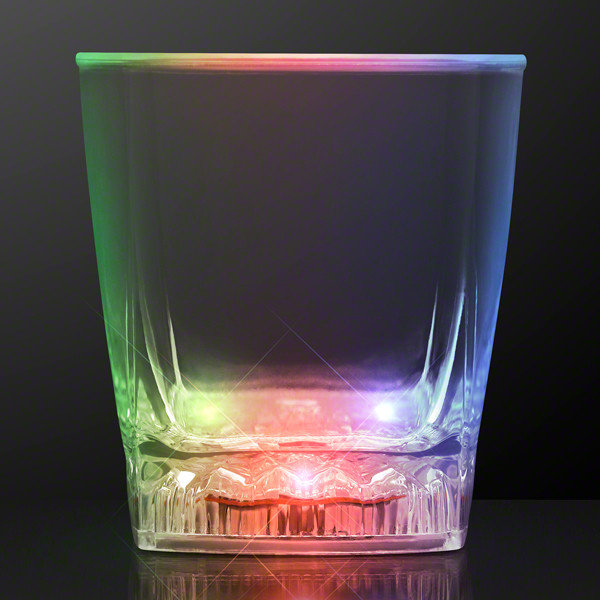 Color changing whiskey glass with multi-colored LED lights.