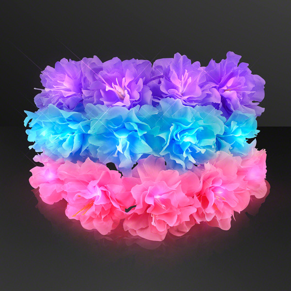 Flower crown with color options of blue, pink and purple that light up with LED lights.