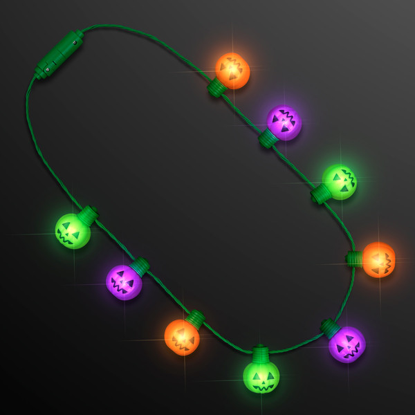 Funky Pumpkins LED Jumbo String Lights Necklace (Pack of 12)