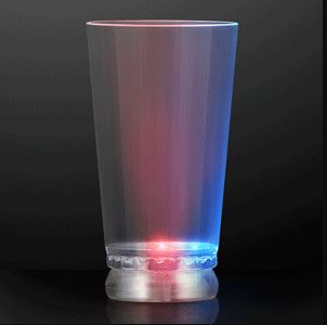 16 oz. Red, White and Blue Light Up Pint Glass. This Red, White, and Blue Light Up Pint Glass will add a little flare to drinking.