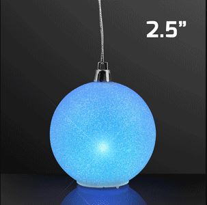 Hanging blue glitter globe that lights up.