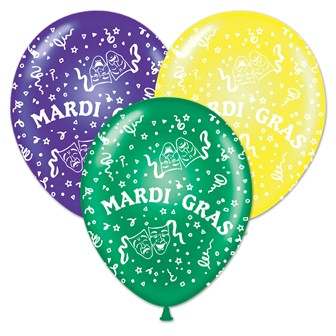 Mardi Gras Balloons (Pack of 50) Mardi Gras, Fat Tuesday, Purple, Yellow, Green, Balloons, Hanging Decor, Wholesale party supplies, Inexpensive party decorations, Beads, Masks, Parades, Cheap, Party Goods, Budget, Masquerade