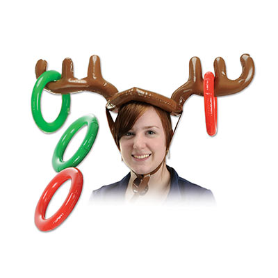 Inflatable Reindeer Ring Toss (Pack of 12) wearable, hat, ring toss, games, reindeer, christmas, holidays, winter