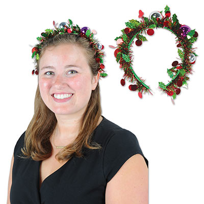 Holiday Tinsel Garland Headband (Pack of 12) Holiday Tinsel Garland Headband, Christmas Wearables, party favor, wholesale, inexpensive, bulk