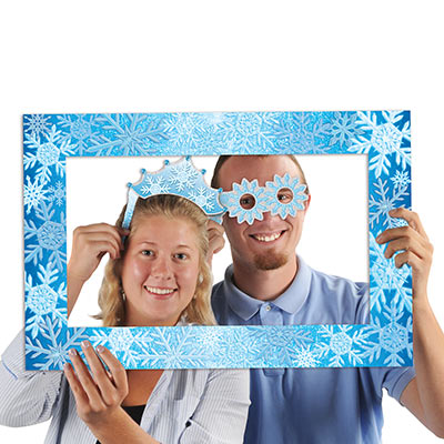 Snowflakes Photo Fun Frame (Pack of 12) Snowflakes Photo Fun Frame, Winter, New Years Eve, Christmas, Wholesale, Inexpensive, bulk