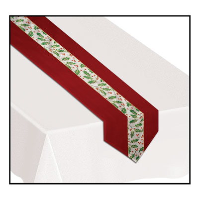 Christmas Holly Fabric Table Runner (Pack of 6) christmas, Winter, Holiday, holly, fabric, table runner, festive