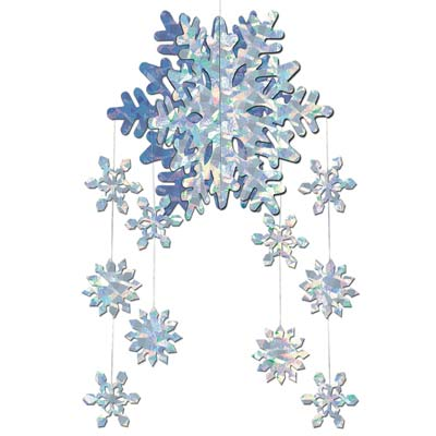 3-D Snowflake Mobile (Pack of 12) Christmas, snow, winter, festive, mobile, 3-D, Sparkeling