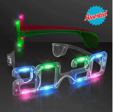 2020 Light Up New Year Party Eye Glasses (Pack of 12) 2020 Light Up New Year Party Eye Glasses, 2020, light up, new years eve, party favor, multi-color, wholesale, inexpensive, bulk