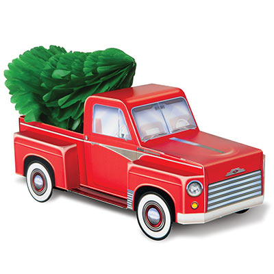 3-D Christmas Tree and Red Truck table decoration