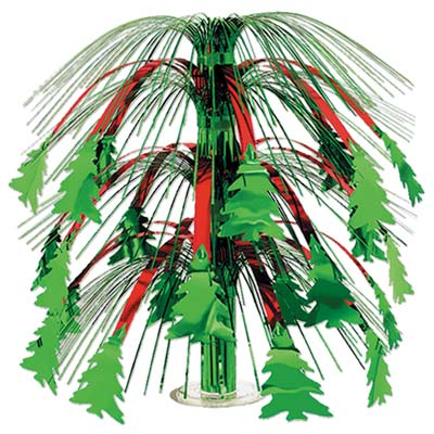 Christmas Tree Cascade Centerpiece (Pack of 6) Christmas, tree, cascade, centerpiece, table, decoration, green, red, party, base