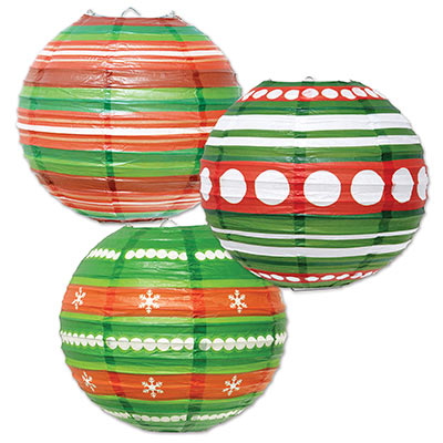 Ornament Paper Lanterns (Pack of 6) Ornament Paper Lanterns, green, red, white, christmas, decoration, wholesale, inexpensive, bulk