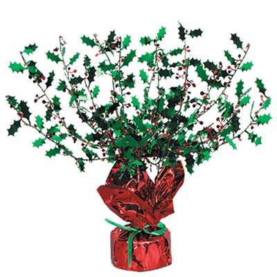 Holly & Berry Gleam N Burst Centerpiece (Pack of 12) holly, berry, gleam, burst, centerpiece, table, decoration, Christmas, holiday, party