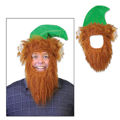 Green Hat w/Beard (Pack of 12) Green Hat, Elf Ears, Christmas Hats, Wholesale Party Supplies, Inexpensive party supplies, Hat and Beard, Elf Beard and Hat