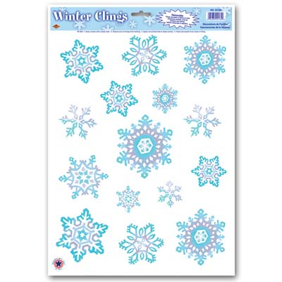 Crystal Snowflake Clings (Pack of 12) Winter, christmas, holidays, snow, snowflake, clings, window