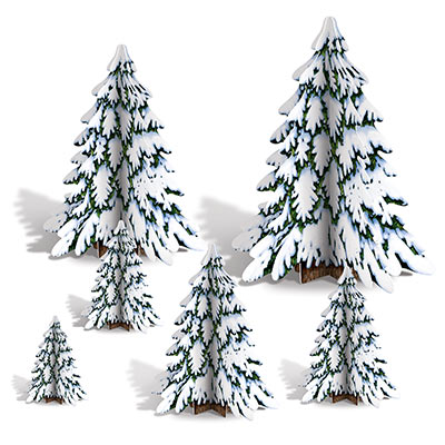 3-D Winter Pine Tree with Snow Centerpieces
