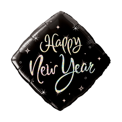 "18"" Diamond HNY Sparkle w/ Multi-color Prismatic Lettering (Pack of 25) new years eve, diamond, balloon, black, silver, prismatic, lettering, decoration, centerpieces, wholesale, inexpensive, bulk"