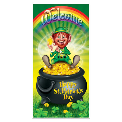 Leprechaun Door Cover (Pack of 12) St. Pats, door, cover, leprechaun, pot of gold, rainbow, lucky, 4 leaf clover, gold