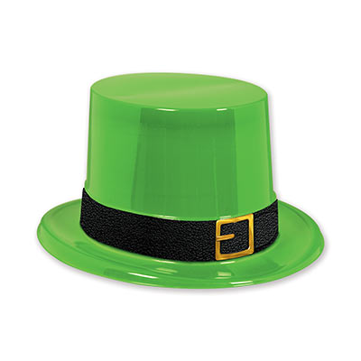 green plastic top hat with a black band and gold buckle for St. Patricks day