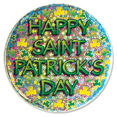 Happy St Patricks Day Button (Pack of 12) Happy St Patricks Day Button, button, st. patricks day, shamrock, party favor, wholesale, inexpensive, bulk