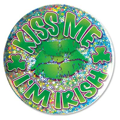 Kiss Me Im Irish Button (Pack of 12) Irish, button, St. Patricks Day, costume, prismatic, green, kiss me