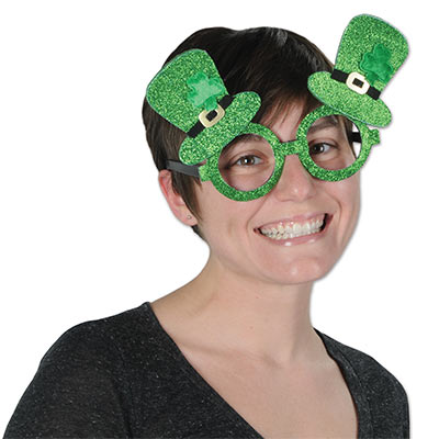 Glittered Leprechaun Hat Glasses (Pack of 12) .