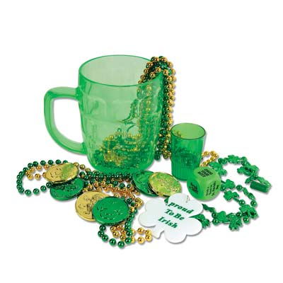 St Pats Party In A Mug (Pack of 6) leprechaun, loot, treasure, mug, st. pats, games, shot glass, beads, coins, irish, green, celtic, Shot glass