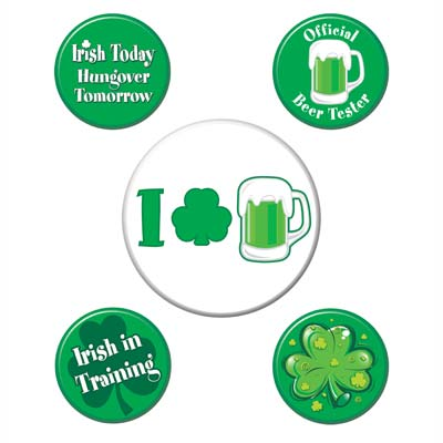 St Patricks Party Buttons (Pack of 60) irish, party, buttons, st. pats, green, beer, drinks, food, costume, accessorie