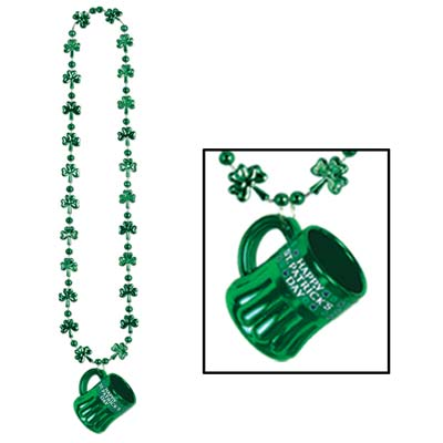 Shamrock Beads w/Happy St Pats Mug (Pack of 12) .
