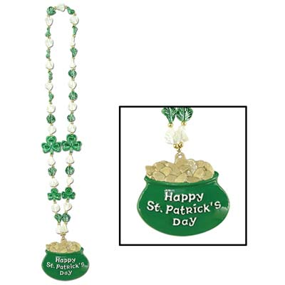 Shamrock Beads w/Pot-O-Gold Medallion (Pack of 12) .