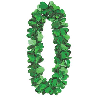 Flashy Foil Shamrock Lei (Pack of 12) .