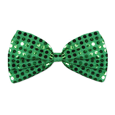 Green Glitz N Gleam Bow Tie (Pack of 12) green, glitz n gleam, bow tie, bow, sequins, st patricks day, st pattys day, irish, celtic