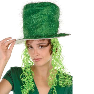 Tinsel Top Hat w/Curly Wig (Pack of 6) Tinsel Top Hat with Curly Wig, party favor, party supplies, st. patricks day, green, wholesale, inexpensive, bulk