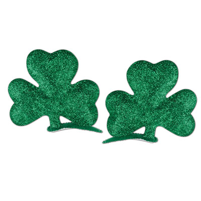 Glittered Shamrock Hair Clips (Pack of 12) Glittered Shamrock Hair Clips, party favor, shamrock, st. patricks day, wholesale, inexpensive, bulk