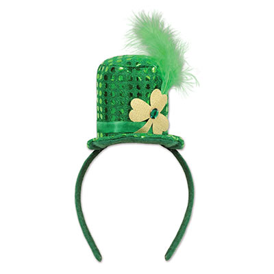 Leprechaun Hat Headband (Pack of 12) Leprechaun Hat Headband, party favor, leprechaun, st. patricks day, hat, green, clover, wholesale, inexpensive, bulk