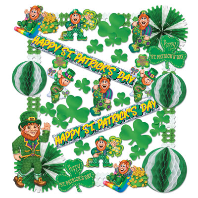 St Patricks Day Decorating Kit tissue, green, gold, white, happy, st patricks day, st pattys day, fringe, tissue balls, jointed, leprechaun, cutouts, glitter, foil, arcade garlands, banners, fans, shamrock, 3 leaf clover, irish, clover, celtic, rainbow, pot of gold,