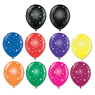 "11"" Assorted Star Imprinted Balloons (Pack of 50) 11, inches, assorted, star, balloons, new years eve, hollywood, july 4th, patriotic, decoration wholesale, inexpensive, bulk"