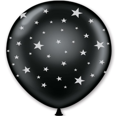 "11"" Black with Silver Stars Imprinted Balloons (Pack of 50) 11"" Balloons, Silver, Black Balloons, Imprinted balloons, Star Balloons, New Years Eve, NYE, Awards Night, Hollywood, Wholesale party supplies, Inexpensive party decorations, Party Goods, Cheap"