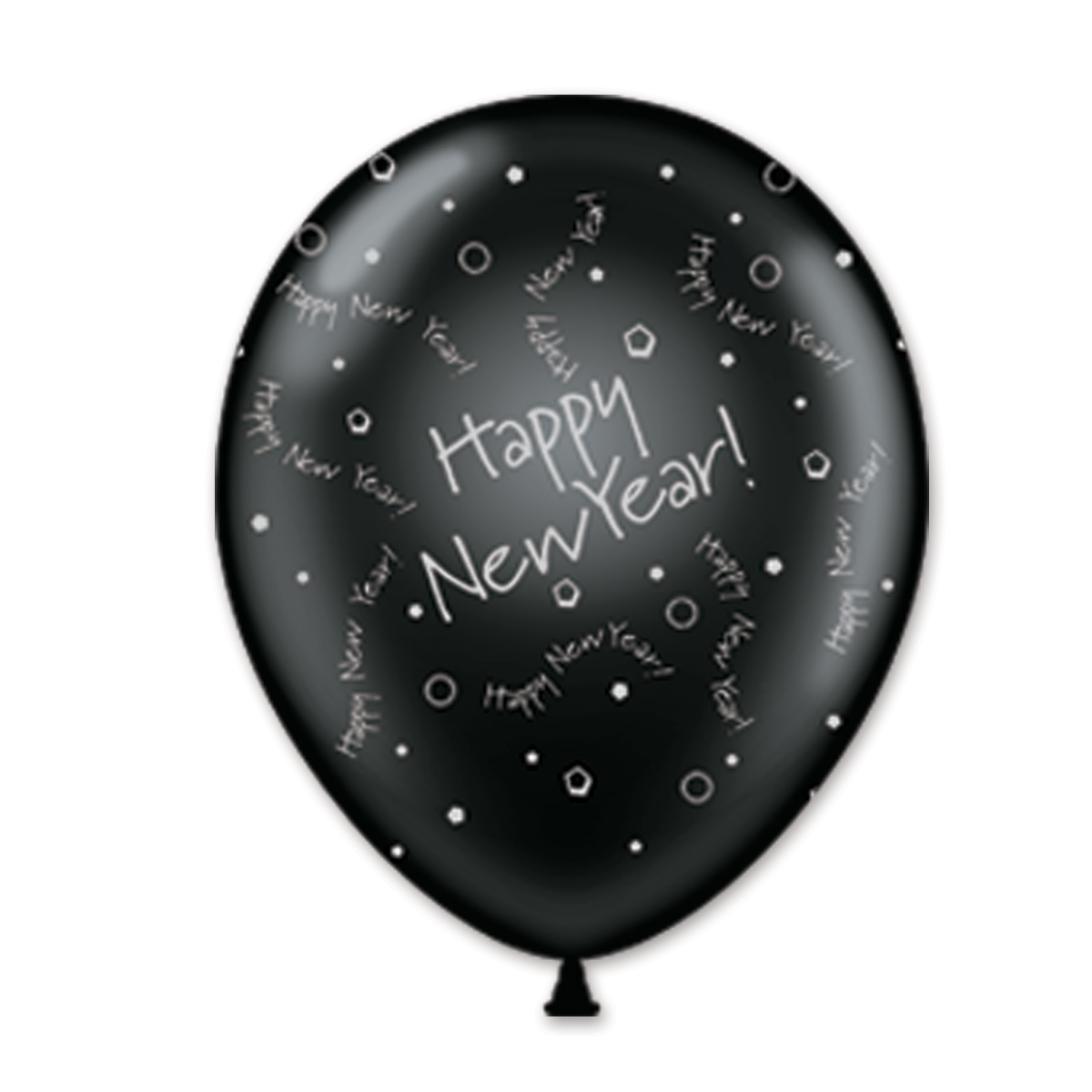 "11"" Black and Silver Happy New Year Balloons (Pack of 100) Balloons, Crystal Balloons, Imprinted Balloons, Inexpensive Decorations, Centerpiece, 11"" Balloons"