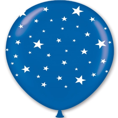 "11"" Blue Balloons with White Stars (Pack of 100)  11"" Balloons, Blue Balloons, Blue and White, Stars, Imprinted Balloons, Decorative Balloons, Bulk Balloons, Inexpensive Party supplies, Wholesale party goods, Bulk Balloons, Cheap, Party Goods, Latex Balloons"