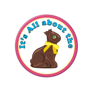 Chocolate Bunny Button (Pack of 12) Happy Easter, chocolate, bunny, rabit, candy, easter, button