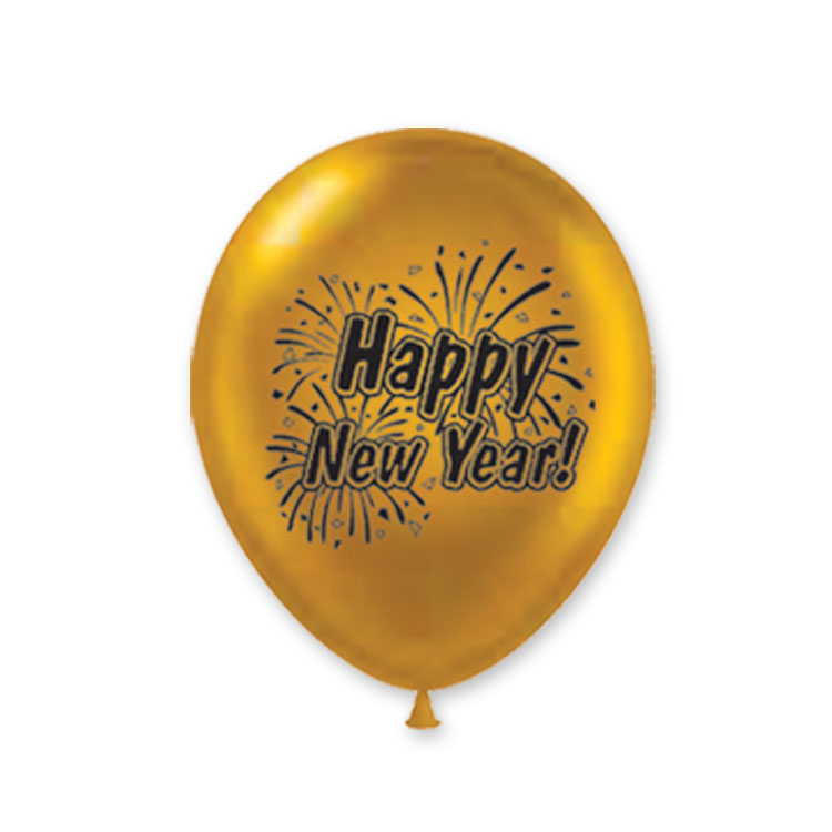 "11"" Happy New Year Burst Balloons (Pack of 100)-Black and Gold balloon, 11, inches, new years eve, black, gold, decoration, inexpensive, wholesale, bulk"