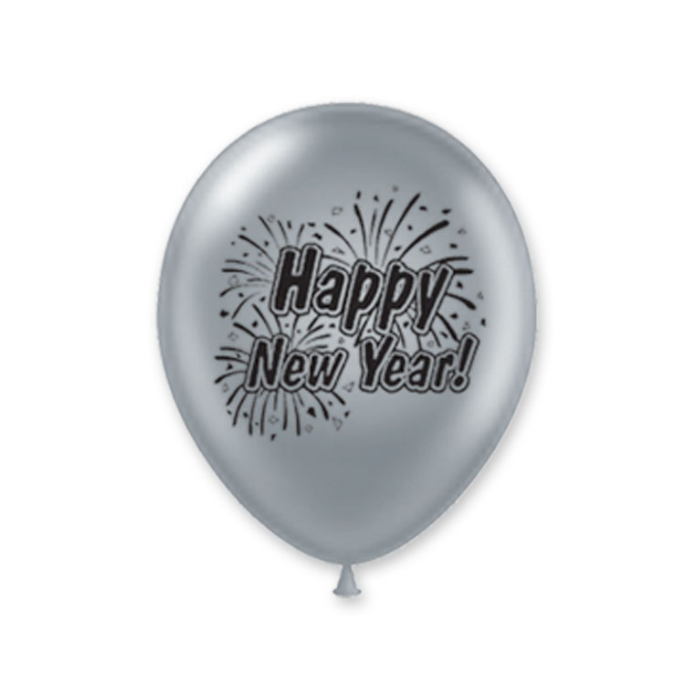 "11"" Happy New Year Burst Balloons (Pack of 100)-Black and Silver ""Happy New Year"", Burst Balloons, Metallic Balloons, 11"" Balloons, Silver Balloons, Black and Silver, NYE, Wholesale party supplies, Inexpensive New Years Eve decor, Bulk packs, Latex Balloons"
