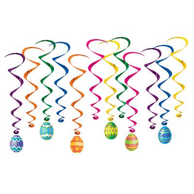 Assorted colored whirls with matching decorative Easter eggs attached to half the whirls.