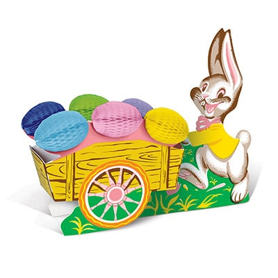 Vintage Easter Bunny w/Cart (Pack of 12) Vintage Easter Bunny w/Cart, Easter, bunny, eggs, decoration, centerpiece, wholesale, inexpensive, bulk